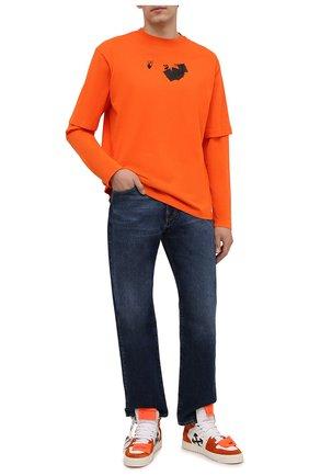 Мужская хлопковый лонгслив OFF-WHITE оранжевого цвета, арт. 0MAB066F21JER010 | Фото 2 (Длина (для топов): Стандартные; Материал подклада: Хлопок; Рукава: Длинные; Материал внешний: Хлопок; Принт: С принтом; Стили: Спорт-шик)