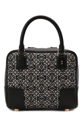 Женская сумка amazona 19 square LOEWE черно-белого цвета, арт. A039N10X02   Фото 1 (Сумки-технические: Сумки top-handle; Ремень/цепочка: На ремешке; Размер: small; Материал: Текстиль, Натуральная кожа)