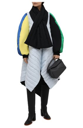 Женское утепленное пальто LOEWE разноцветного цвета, арт. S540Y02X26 | Фото 2 (Рукава: Длинные; Длина (верхняя одежда): Длинные; Стили: Гламурный; Материал подклада: Хлопок; Материал внешний: Хлопок; 1-2-бортные: Однобортные)