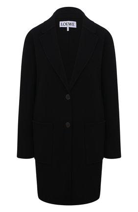 Женское пальто из шерсти и кашемира LOEWE черного цвета, арт. S540Y03X31   Фото 1 (Материал внешний: Шерсть; Стили: Гламурный; Длина (верхняя одежда): До середины бедра; Рукава: Длинные; Материал подклада: Вискоза; 1-2-бортные: Однобортные)