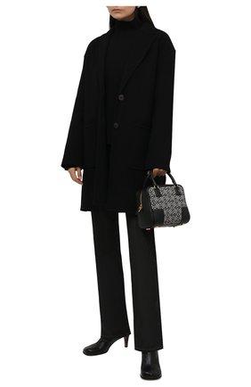 Женское пальто из шерсти и кашемира LOEWE черного цвета, арт. S540Y03X31   Фото 2 (Материал внешний: Шерсть; Стили: Гламурный; Длина (верхняя одежда): До середины бедра; Рукава: Длинные; Материал подклада: Вискоза; 1-2-бортные: Однобортные)
