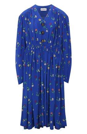 Женское шелковое платье BALENCIAGA синего цвета, арт. 675385/TLLA6 | Фото 1 (Материал внешний: Шелк; Длина Ж (юбки, платья, шорты): Миди; Рукава: Длинные; Стили: Гламурный; Случай: Повседневный; Женское Кросс-КТ: Платье-одежда)