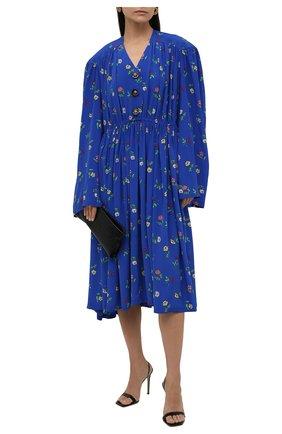 Женское шелковое платье BALENCIAGA синего цвета, арт. 675385/TLLA6 | Фото 2 (Материал внешний: Шелк; Длина Ж (юбки, платья, шорты): Миди; Рукава: Длинные; Стили: Гламурный; Случай: Повседневный; Женское Кросс-КТ: Платье-одежда)