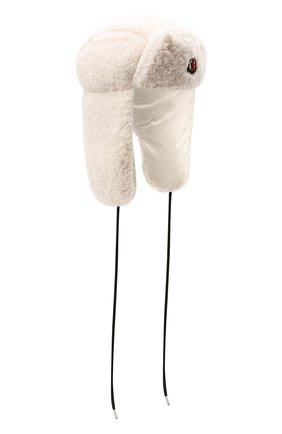 Женская пуховая шапка-ушанка MONCLER белого цвета, арт. G2-093-3B000-49-54AM6 | Фото 1 (Материал: Синтетический материал, Текстиль)