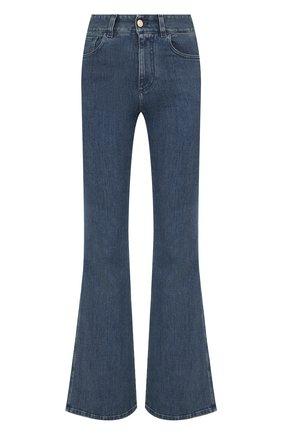 Женские джинсы CHLOÉ темно-синего цвета, арт. CHC21WDP82151   Фото 1 (Кросс-КТ: Деним; Материал внешний: Хлопок; Силуэт Ж (брюки и джинсы): Расклешенные; Длина (брюки, джинсы): Удлиненные)