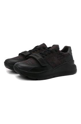 Мужские комбинированные кроссовки ramsey BURBERRY темно-серого цвета, арт. 8042200   Фото 1 (Материал внутренний: Текстиль, Натуральная кожа; Подошва: Массивная; Материал внешний: Текстиль; Стили: Классический)