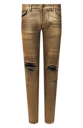 Мужские джинсы DOLCE & GABBANA золотого цвета, арт. GY07LD/G8BV4   Фото 1 (Длина (брюки, джинсы): Стандартные; Материал внешний: Хлопок; Кросс-КТ: Деним; Силуэт М (брюки): Узкие; Детали: Потертости; Стили: Гранж)