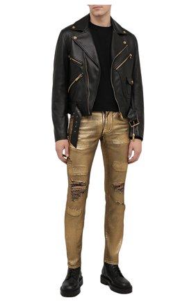 Мужские джинсы DOLCE & GABBANA золотого цвета, арт. GY07LD/G8BV4   Фото 2 (Длина (брюки, джинсы): Стандартные; Материал внешний: Хлопок; Кросс-КТ: Деним; Силуэт М (брюки): Узкие; Детали: Потертости; Стили: Гранж)