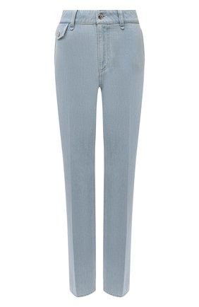 Женские джинсы BURBERRY голубого цвета, арт. 8045037 | Фото 1 (Материал внешний: Хлопок; Длина (брюки, джинсы): Удлиненные; Кросс-КТ: Деним; Силуэт Ж (брюки и джинсы): Прямые; Стили: Кэжуэл)