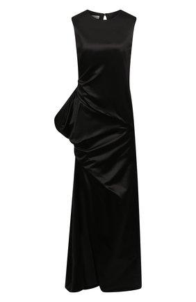 Женское платье из хлопка и шелка DRIES VAN NOTEN черного цвета, арт. 212-011074-3356 | Фото 1 (Материал внешний: Хлопок, Шелк; Материал подклада: Вискоза; Длина Ж (юбки, платья, шорты): Макси; Женское Кросс-КТ: Платье-одежда; Случай: Вечерний; Стили: Романтичный)