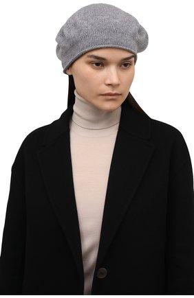 Женский кашемировый берет LISA YANG серого цвета, арт. 402061   Фото 2 (Материал: Кашемир, Шерсть)