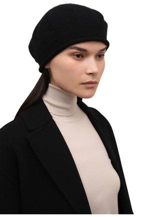 Женский кашемировый берет LISA YANG черного цвета, арт. 402061   Фото 2 (Материал: Шерсть, Кашемир)