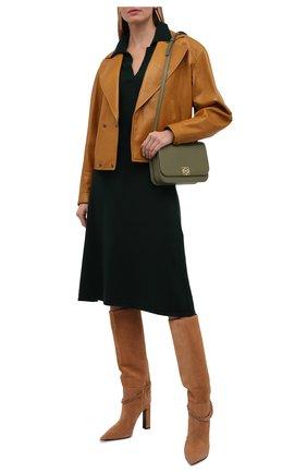 Женское кашемировое платье LISA YANG зеленого цвета, арт. 202190   Фото 2 (Материал внешний: Шерсть, Кашемир; Рукава: Длинные; Длина Ж (юбки, платья, шорты): Миди; Женское Кросс-КТ: Платье-одежда; Кросс-КТ: Трикотаж; Случай: Повседневный; Стили: Кэжуэл)