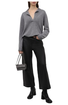 Женский кашемировый свитер LISA YANG серого цвета, арт. 202168   Фото 2 (Материал внешний: Кашемир, Шерсть; Длина (для топов): Стандартные; Рукава: Длинные; Стили: Кэжуэл; Женское Кросс-КТ: Свитер-одежда)
