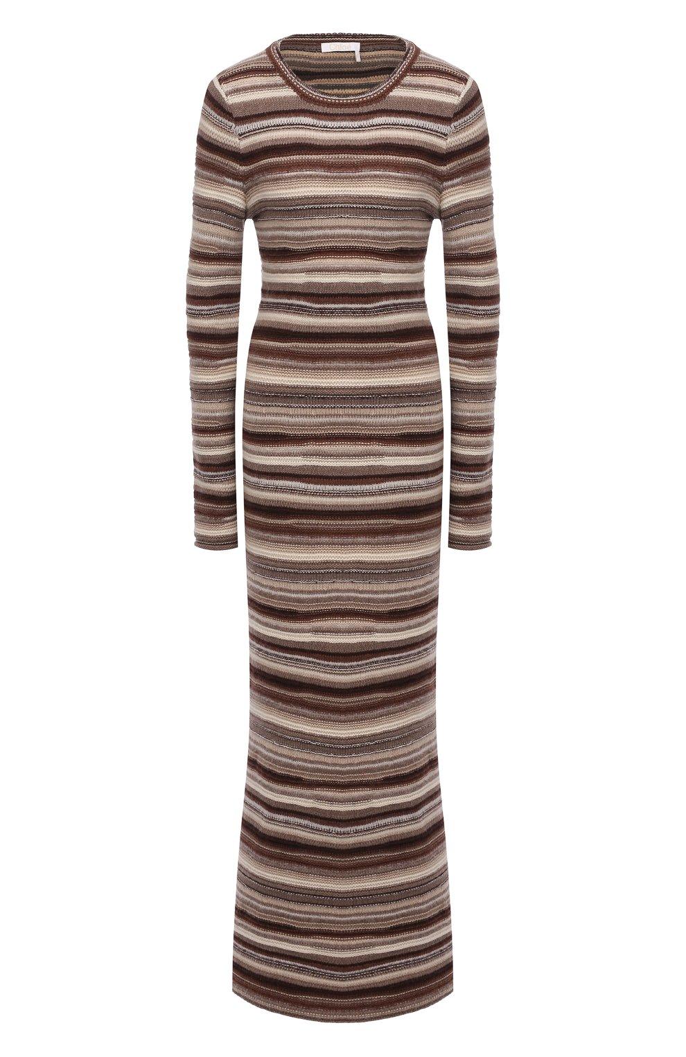 Женское платье из кашемира и шерсти CHLOÉ коричневого цвета, арт. CHC21WMR08670   Фото 1 (Материал внешний: Шерсть, Кашемир; Рукава: Длинные; Случай: Повседневный; Кросс-КТ: Трикотаж; Длина Ж (юбки, платья, шорты): Макси; Женское Кросс-КТ: Платье-одежда; Стили: Кэжуэл)