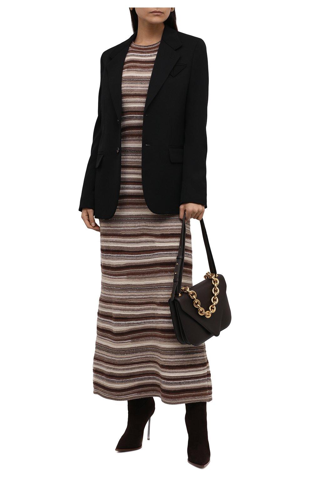 Женское платье из кашемира и шерсти CHLOÉ коричневого цвета, арт. CHC21WMR08670   Фото 2 (Материал внешний: Шерсть, Кашемир; Рукава: Длинные; Случай: Повседневный; Кросс-КТ: Трикотаж; Длина Ж (юбки, платья, шорты): Макси; Женское Кросс-КТ: Платье-одежда; Стили: Кэжуэл)