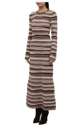 Женское платье из кашемира и шерсти CHLOÉ коричневого цвета, арт. CHC21WMR08670   Фото 3 (Материал внешний: Шерсть, Кашемир; Рукава: Длинные; Случай: Повседневный; Кросс-КТ: Трикотаж; Длина Ж (юбки, платья, шорты): Макси; Женское Кросс-КТ: Платье-одежда; Стили: Кэжуэл)