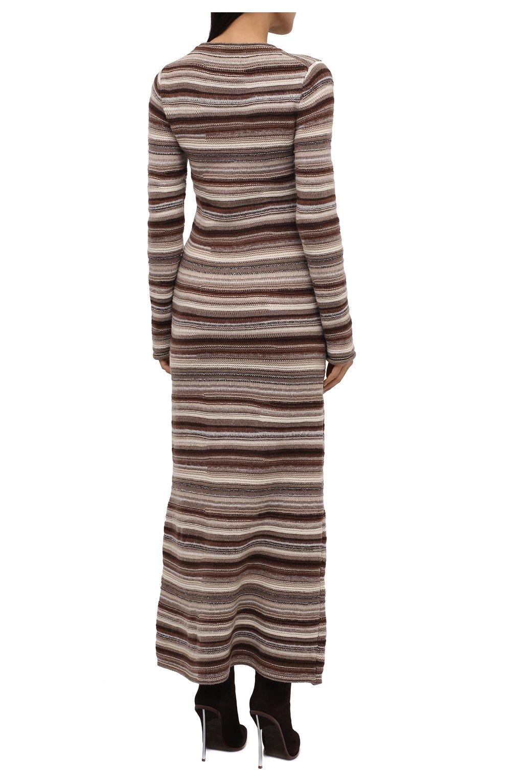 Женское платье из кашемира и шерсти CHLOÉ коричневого цвета, арт. CHC21WMR08670   Фото 4 (Материал внешний: Шерсть, Кашемир; Рукава: Длинные; Случай: Повседневный; Кросс-КТ: Трикотаж; Длина Ж (юбки, платья, шорты): Макси; Женское Кросс-КТ: Платье-одежда; Стили: Кэжуэл)