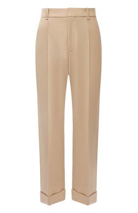 Женские шерстяные брюки CHLOÉ бежевого цвета, арт. CHC21WPA18068   Фото 1 (Материал внешний: Шерсть; Женское Кросс-КТ: Брюки-одежда; Стили: Кэжуэл; Длина (брюки, джинсы): Стандартные; Силуэт Ж (брюки и джинсы): Прямые)