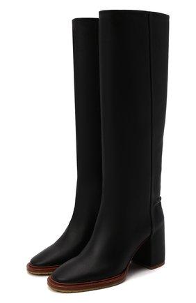 Женские кожаные сапоги edith CHLOÉ черного цвета, арт. CHC21W519V3   Фото 1 (Материал внутренний: Натуральная кожа; Каблук высота: Высокий; Высота голенища: Средние; Подошва: Плоская; Каблук тип: Устойчивый)