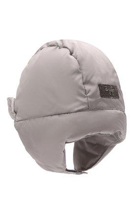 Детского пуховая шапка IL GUFO серого цвета, арт. A21E0219N0031 | Фото 2 (Материал: Текстиль, Синтетический материал)