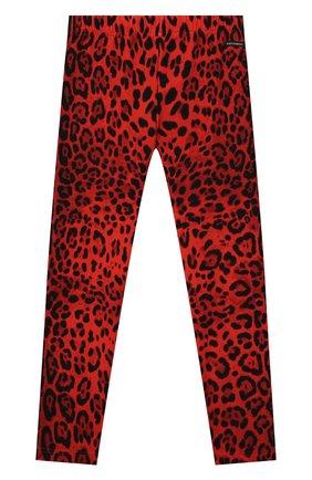 Детские хлопковые леггинсы DOLCE & GABBANA красного цвета, арт. L5JP5B/FSGYV/8-14   Фото 1 (Материал внешний: Хлопок; Девочки Кросс-КТ: Брюки-одежда)