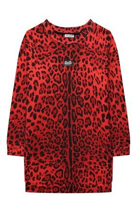 Детское хлопковое платье DOLCE & GABBANA красного цвета, арт. L5JD3P/HS7GN/8-14 | Фото 1 (Материал внешний: Хлопок; Рукава: Длинные)