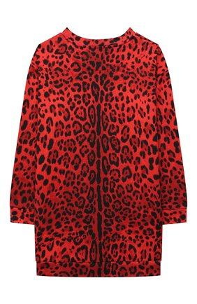 Детское хлопковое платье DOLCE & GABBANA красного цвета, арт. L5JD3P/HS7GN/8-14 | Фото 2 (Материал внешний: Хлопок; Рукава: Длинные)