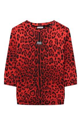 Детское хлопковое платье DOLCE & GABBANA красного цвета, арт. L5JD3P/HS7GN/2-6 | Фото 1 (Материал внешний: Хлопок; Рукава: Длинные; Девочки Кросс-КТ: Платье-одежда; Случай: Повседневный)