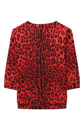 Детское хлопковое платье DOLCE & GABBANA красного цвета, арт. L5JD3P/HS7GN/2-6 | Фото 2 (Материал внешний: Хлопок; Рукава: Длинные; Девочки Кросс-КТ: Платье-одежда; Случай: Повседневный)