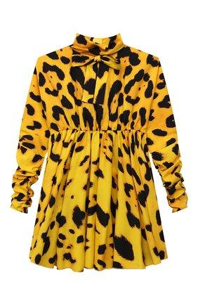 Детское шелковое платье DOLCE & GABBANA желтого цвета, арт. L52DX7/FSA2F/8-14 | Фото 1 (Рукава: Длинные; Материал подклада: Шелк; Материал внешний: Шелк; Девочки Кросс-КТ: Платье-одежда; Случай: Повседневный)