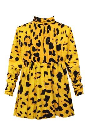 Детское шелковое платье DOLCE & GABBANA желтого цвета, арт. L52DX7/FSA2F/8-14 | Фото 2 (Рукава: Длинные; Материал подклада: Шелк; Материал внешний: Шелк; Девочки Кросс-КТ: Платье-одежда; Случай: Повседневный)