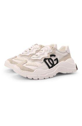Детские кроссовки DOLCE & GABBANA кремвого цвета, арт. D11053/AQ040/29-36   Фото 1 (Материал внутренний: Натуральная кожа; Материал внешний: Текстиль)