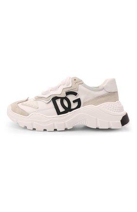 Детские кроссовки DOLCE & GABBANA кремвого цвета, арт. D11053/AQ040/29-36   Фото 2 (Материал внутренний: Натуральная кожа; Материал внешний: Текстиль)