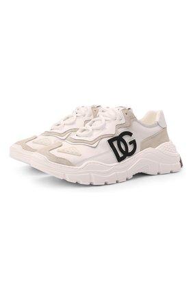 Детские кроссовки DOLCE & GABBANA кремвого цвета, арт. D11053/AQ040/37-39 | Фото 1 (Материал внешний: Текстиль; Материал внутренний: Натуральная кожа)