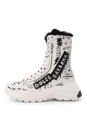 Детские кожаные ботинки DOLCE & GABBANA черно-белого цвета, арт. DA5025/AQ494/29-36 | Фото 2 (Материал утеплителя: Натуральный мех)