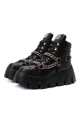 Женские кожаные ботинки MIU MIU черного цвета, арт. 5T570D-7V6-F0002-M070 | Фото 1 (Женское Кросс-КТ: Хайкеры-ботинки)