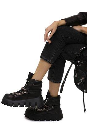 Женские кожаные ботинки MIU MIU черного цвета, арт. 5T570D-7V6-F0002-M070 | Фото 2 (Женское Кросс-КТ: Хайкеры-ботинки)