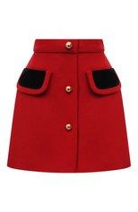 Женская шерстяная юбка MIU MIU красного цвета, арт. MG1696-862-F0011 | Фото 1 (Длина Ж (юбки, платья, шорты): Мини; Материал внешний: Шерсть; Женское Кросс-КТ: Юбка-одежда; Стили: Романтичный)