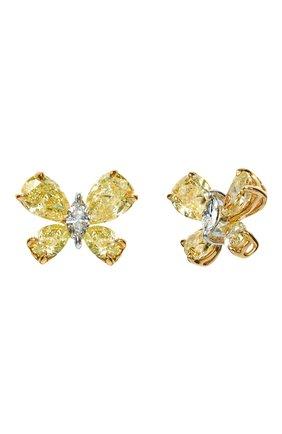 Женские серьги MERCURY бесцветного цвета, арт. ME21828YDW | Фото 1 (Материал сплава: Желтое золото, Белое золото; Драгоценные камни: Бриллианты)