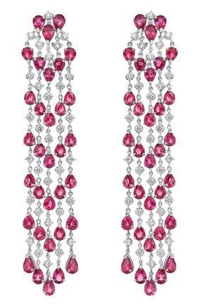 Женские серьги MERCURY бесцветного цвета, арт. MEM9317WR | Фото 1 (Материал сплава: Белое золото; Драгоценные камни: Рубины, Бриллианты)