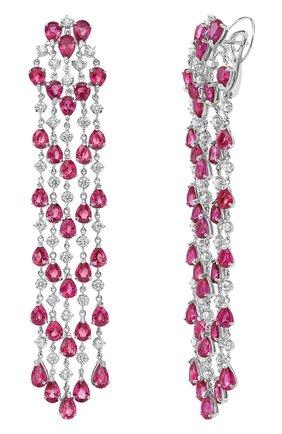 Женские серьги MERCURY бесцветного цвета, арт. MEM9317WR | Фото 2 (Материал сплава: Белое золото; Драгоценные камни: Рубины, Бриллианты)