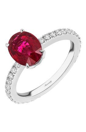 Женские кольцо MERCURY бесцветного цвета, арт. MR27077WDR | Фото 1 (Материал сплава: Белое золото; Драгоценные камни: Рубины, Бриллианты)