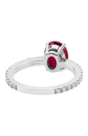 Женские кольцо MERCURY бесцветного цвета, арт. MR27077WDR | Фото 2 (Материал сплава: Белое золото; Драгоценные камни: Рубины, Бриллианты)