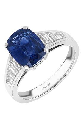 Женские кольцо MERCURY бесцветного цвета, арт. MR26155WDS | Фото 1 (Материал сплава: Белое золото; Драгоценные камни: Сапфиры, Бриллианты)