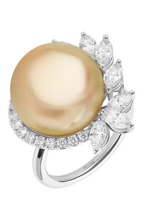 Женские кольцо MERCURY бесцветного цвета, арт. MR26882/PRL15 | Фото 1 (Материал сплава: Белое золото; Драгоценные камни: Жемчуг, Бриллианты)