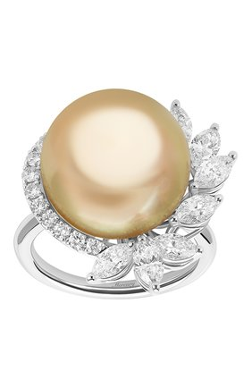 Женские кольцо MERCURY бесцветного цвета, арт. MR26882/PRL15 | Фото 2 (Материал сплава: Белое золото; Драгоценные камни: Жемчуг, Бриллианты)