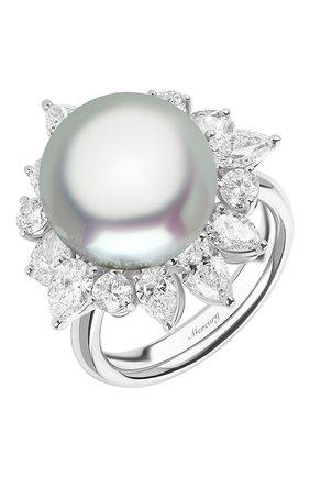 Женские кольцо MERCURY бесцветного цвета, арт. MR26888/PRL12 | Фото 1 (Материал сплава: Белое золото; Драгоценные камни: Бриллианты, Жемчуг)