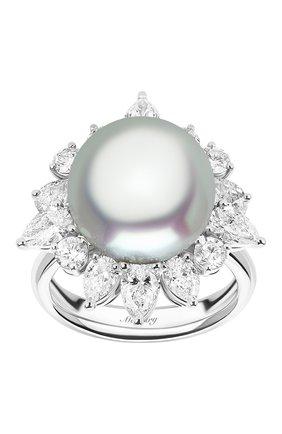 Женские кольцо MERCURY бесцветного цвета, арт. MR26888/PRL12 | Фото 2 (Материал сплава: Белое золото; Драгоценные камни: Бриллианты, Жемчуг)