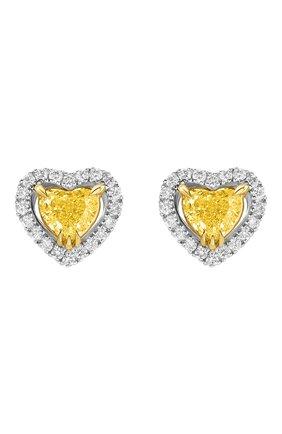Женские серьги MERCURY бесцветного цвета, арт. ME19696WYD | Фото 1 (Материал сплава: Белое золото, Желтое золото; Драгоценные камни: Бриллианты)